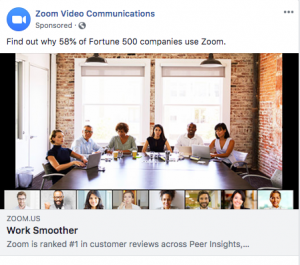 Zoom Social Proof Ad Example