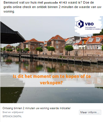 postcode facebook marketing makelaar